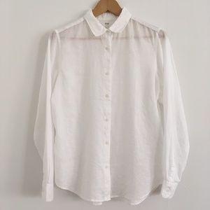 Uniqlo Linen Button Down in White